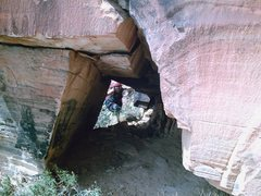"""Rock Climbing Photo: The """"tunnel"""" at the base of the route"""