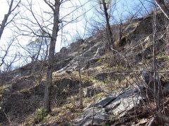 Rock Climbing Photo: 'Freedonia' starts lower left of the blue plastic ...