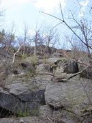 Rock Climbing Photo: Hannah traverses diagonal up at the crack (much lo...