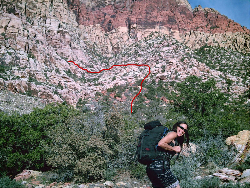 Rock Climbing Photo: Redline shows the approach up the Spur Ridge then ...