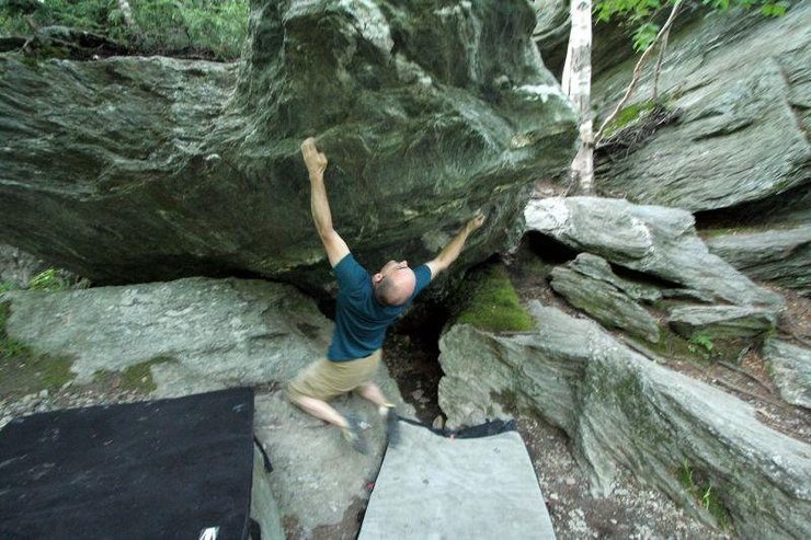 """Rock Climbing Photo: Unknown Canadian climber on the crux of """"The ..."""