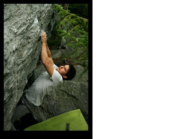 Rock Climbing Photo: unknown climber on the start of Bejesus V4/5