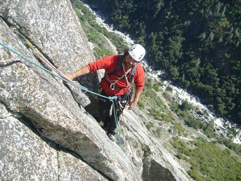 Rock Climbing Photo: Josh nearing the P5 anchor