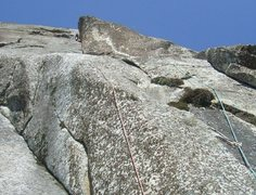 Rock Climbing Photo: The 5th pitch with  climber in the large left faci...