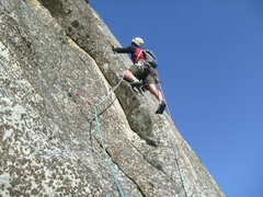 Rock Climbing Photo: The last pitch. Moving right past the small left f...
