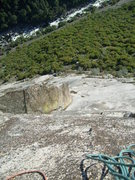 Rock Climbing Photo: Looking down at the large left facing corner on pi...