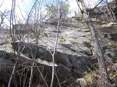 Rock Climbing Photo: The short central ledge is 'Dystonia' and above ri...