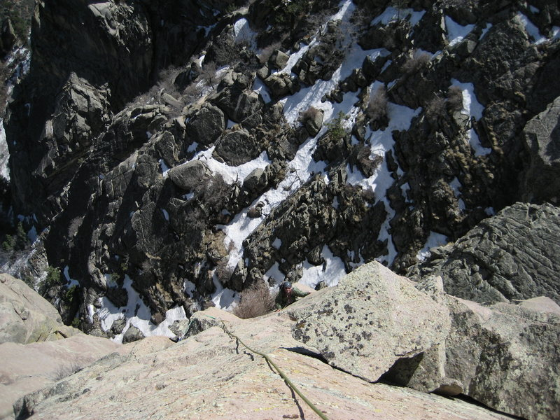 John Bregar on the last pitch up to the summit.