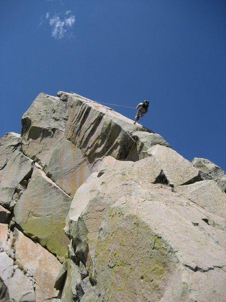Rock Climbing Photo: John Bregar rappelling from the summit. A single 6...
