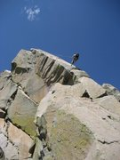 Rock Climbing Photo: John Bregar rappelling from the summit. A single 6...
