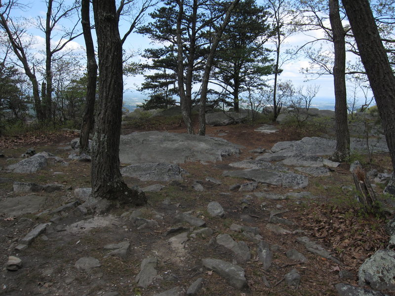 The top of the cliff band at the end of the access trail.