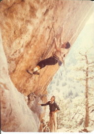 John Baldwin, Nov. 1980 on Paligap 5.12a (aka Polygap). John Baldwin belayed by Mark Rolofson.