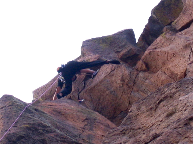 Rock Climbing Photo: Final move to anchor at 32 m.  Jay Foley on sight ...
