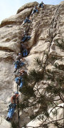 Rock Climbing Photo: A time lapse photo of me leading scrumdillyishus t...