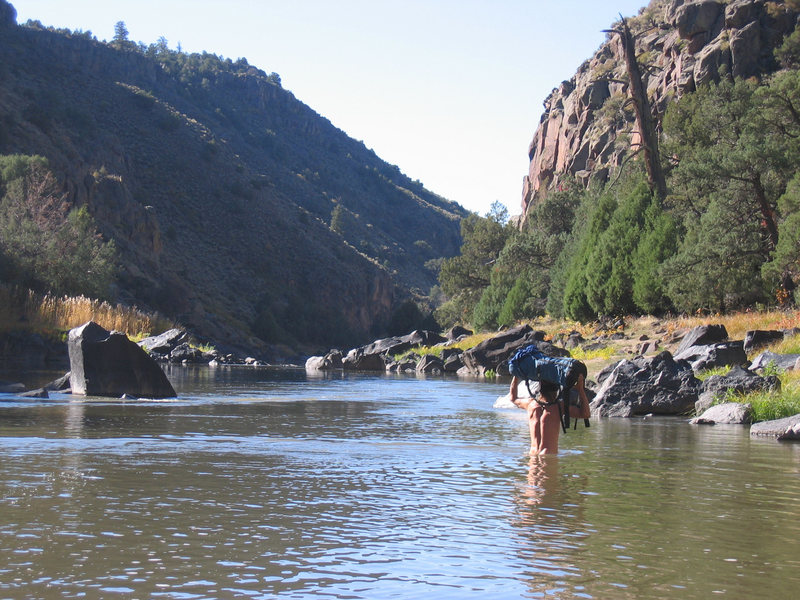 Rock Climbing Photo: Fall low water approach looking downstream toward ...