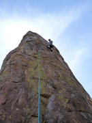 Rock Climbing Photo: Geir leads pitch 2 of the Totem Pole.