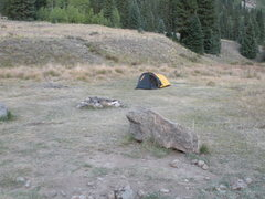 Rock Climbing Photo: Trailhead camp at base of Redcloud/Sunshine