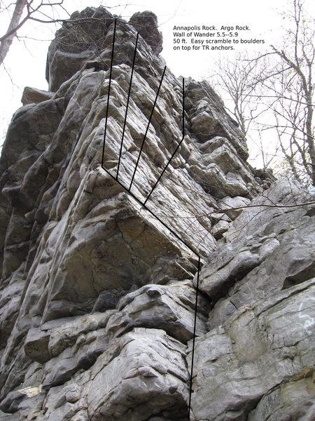 Wall of Wander (5.5ish -- 5.9) on Argo Rock.