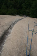 Rock Climbing Photo: 110 ft and only 1 bolt and no natural pro! Second ...