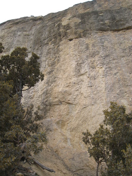 Right About Now climbs the tan streak at center, to the big hueco, over the black & tan bulge, then up the slab & headwall to the top of the wall.