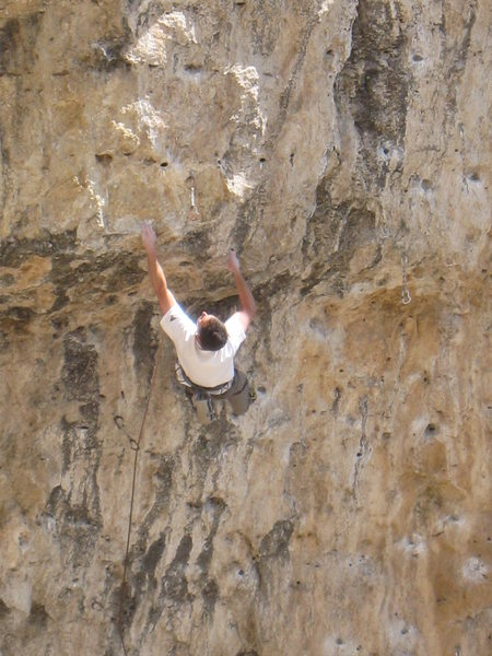 Rock Climbing Photo: Pulling the crux roof.