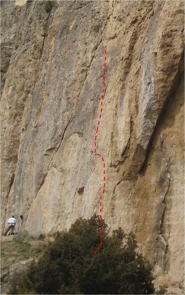 Sign of the Times (First Pitch).  Two routes climb the upper wall, including an excellent 12b.