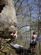 Rock Climbing Photo: Rob working Strong Men.  April '10.
