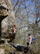 Rock Climbing Photo: Travis on his problem Strong Men Also Cry, April '...