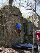 Rock Climbing Photo: Travis sending.  Fun line.  April '10.