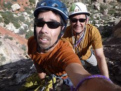 Rock Climbing Photo: Scott Nomi and Chris Owen, top of P1.