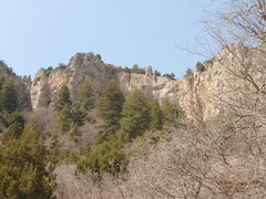 Rock Climbing Photo: Bluebeard as seen from the road. It tops out on th...