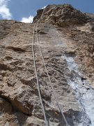 Rock Climbing Photo: The slabby pitch 3 up to the arete.