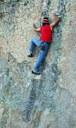Rock Climbing Photo: Andrew Thomas at the crux
