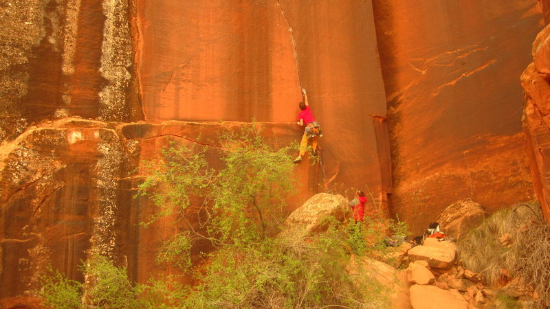 Rock Climbing Photo: A unknown climber (I think the BD rep for Belgium)...