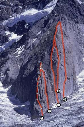 "Rock Climbing Photo: Route Marked #2 is ""Uno Poco de Patagonia&quo..."