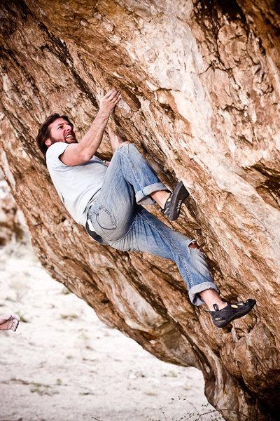 Rock Climbing Photo: Heath Brackett on Blue Flowers.
