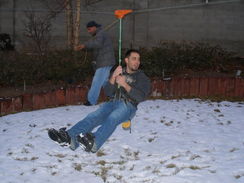 Zip Lining in the Folks backyard