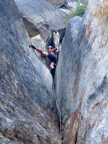 Rock Climbing Photo: Hillary nearing the top of the marathon 7th pitch