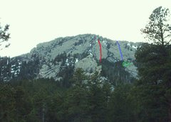 Rock Climbing Photo: Blue = North Wing Center. Red = The Middle Wing. G...