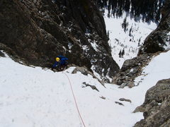 Rock Climbing Photo: Frosty pulling over the chockstones.
