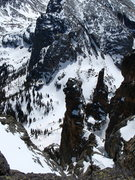 Rock Climbing Photo: From near the top of the couloir, looking back dow...