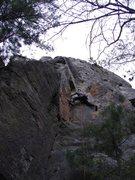 Rock Climbing Photo: Rhoads heading up.