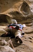 Rock Climbing Photo: A climber approaching the Red Eye.