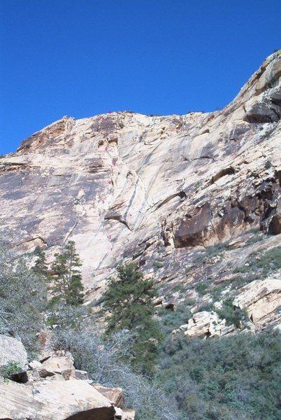 Underhanging Overhang (5.7), Celebration Wall, Oak Creek Canyon, Red Rock Canyon NCA, NV.