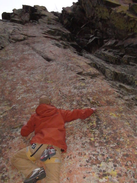 Eric attemping a first ascent just in his G Nikes.