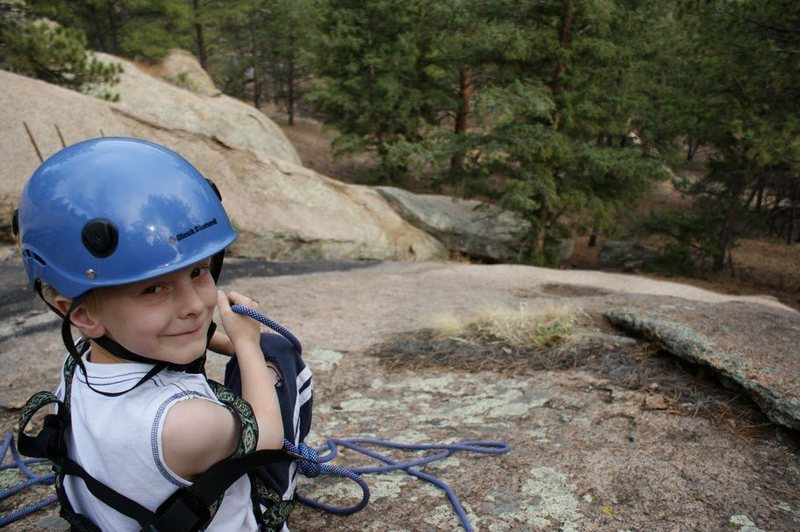 Boone on his first South Platte climb (and second roped climb), a little 3rd class slab near Jazz Dome we called Easy Listening.