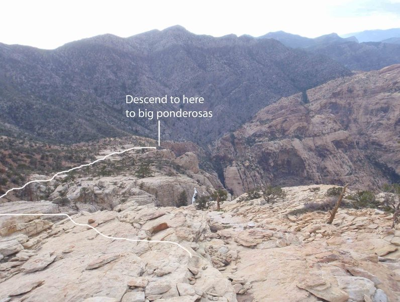 Rock Climbing Photo: Descend down the ridge a long ways to the final re...