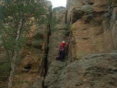 Rock Climbing Photo: Upper cracks of the climb.