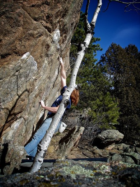 Luke Childers not falling short on the desperate crimps to sloper toss on &quot;The Shorter They Fall (V7).&quot;<br> <br> Three Sister Park, Co.