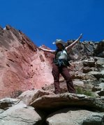 Rock Climbing Photo: Jenn, upon having successfully found the start of ...